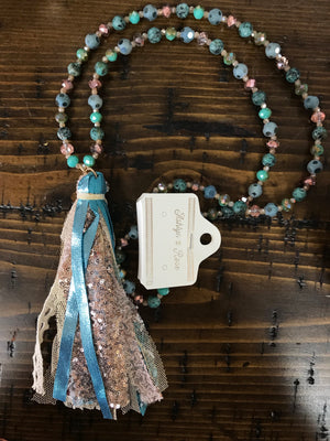 Beaded Necklace with Metallic and Turquoise/Floral Fabric Tassel