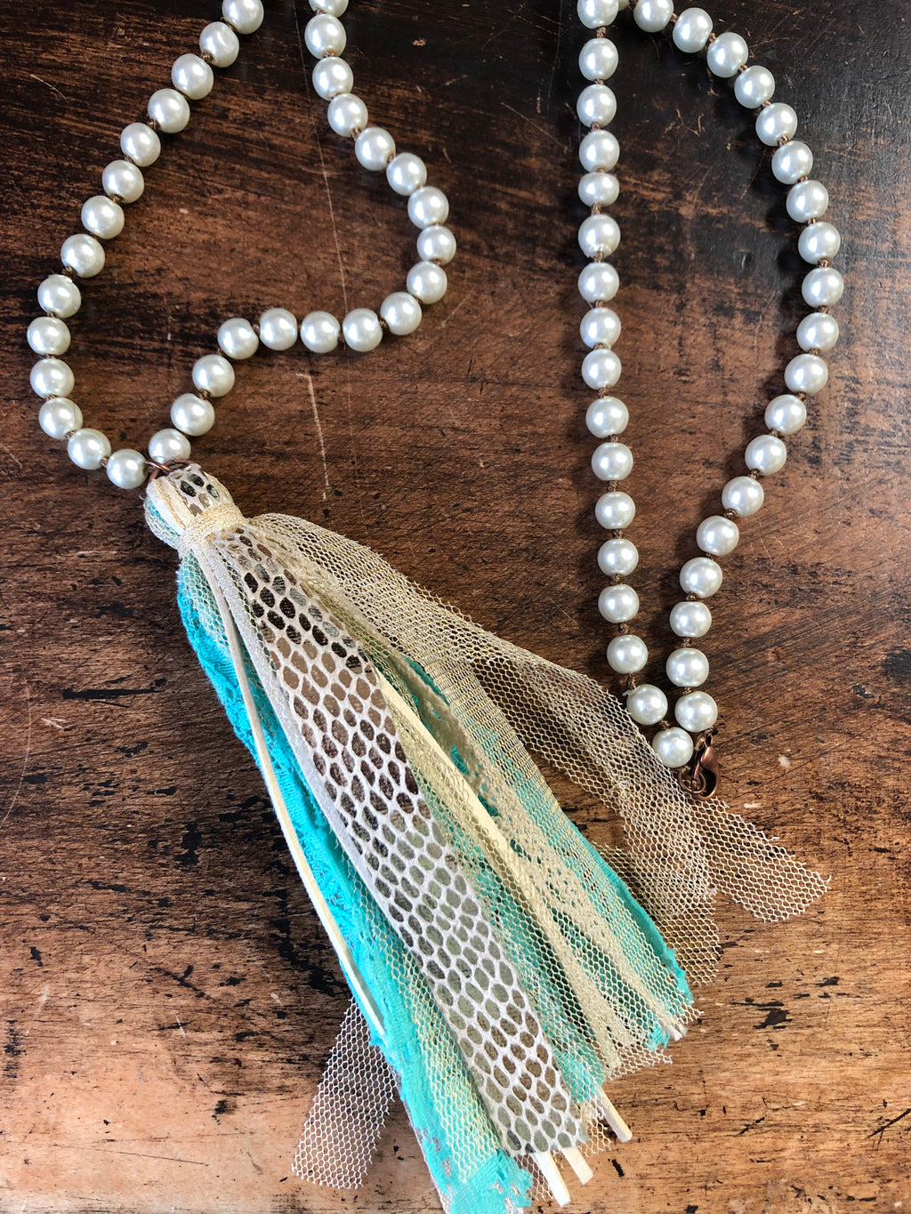 Turquoise & Lace Tassel Necklace