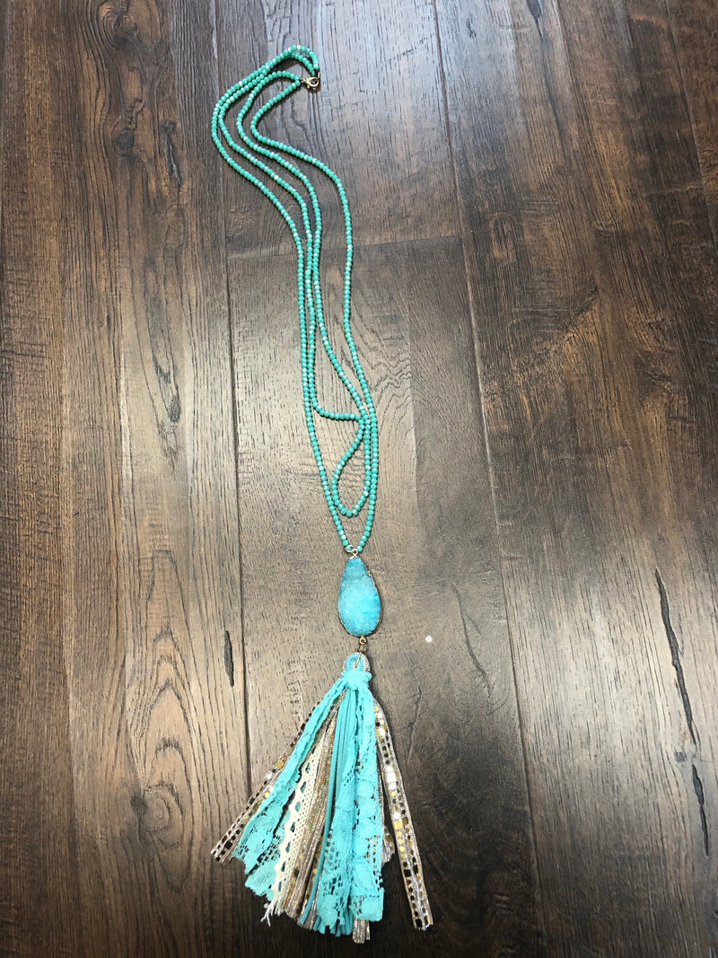 Beaded Necklace with Druzy and Tassel
