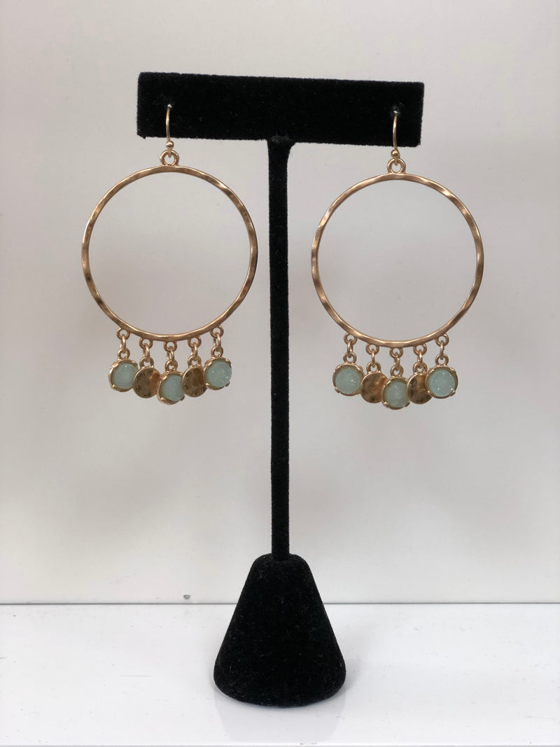 Hammered Earring with Mint Druzy Accent