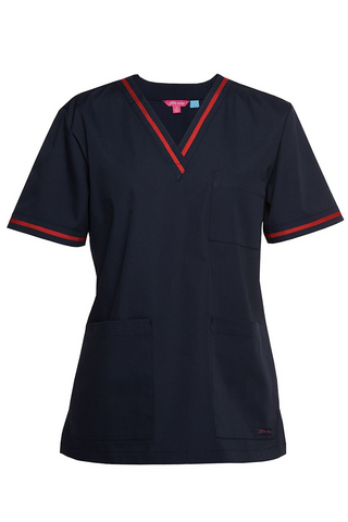 Ladies Contrast Scrub Top (3 Colours)