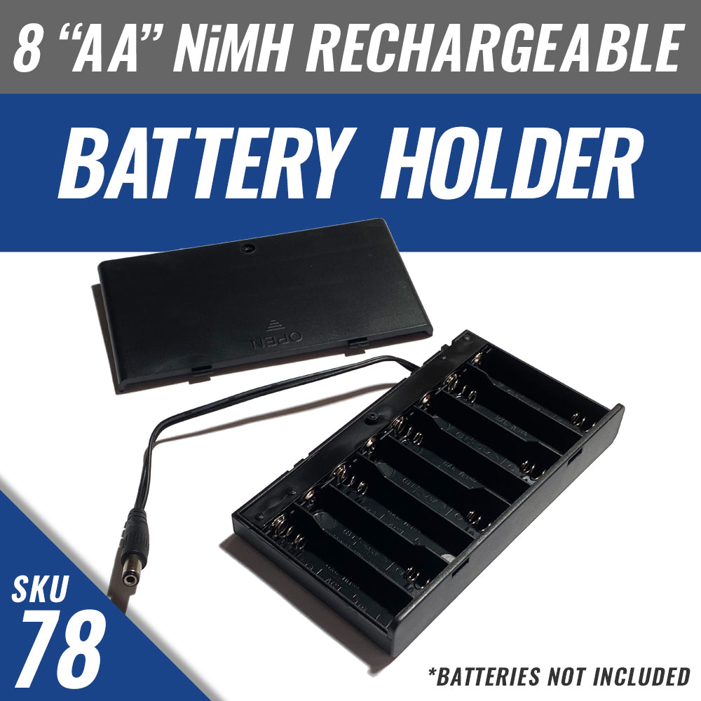 "Battery Holder for 8 ""AA"" Rechargeable NiMH Batteries *batteries not included"