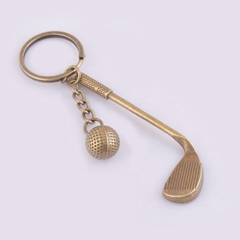 Antique bronze tone keychain golf design key chain