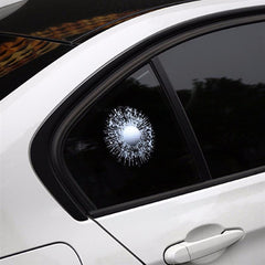 Car 3D Funny Sticker White Golf Ball Hitting Glass, Window Windshield Sticker Adhesive Decals