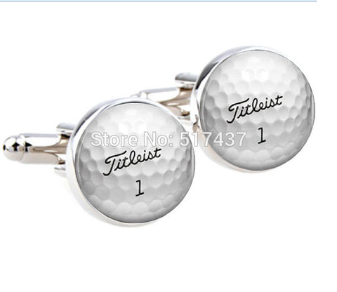 1 pair cufflinks for mens Golf Ball Cufflinks Round Glass Hand made CuffLinks