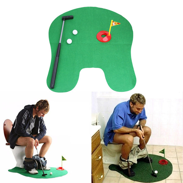 Potty Putter Toilet Golf Game Mini Golf Set Toilet Golf Putting Green Novelty Game Toy Gift for Men and Women
