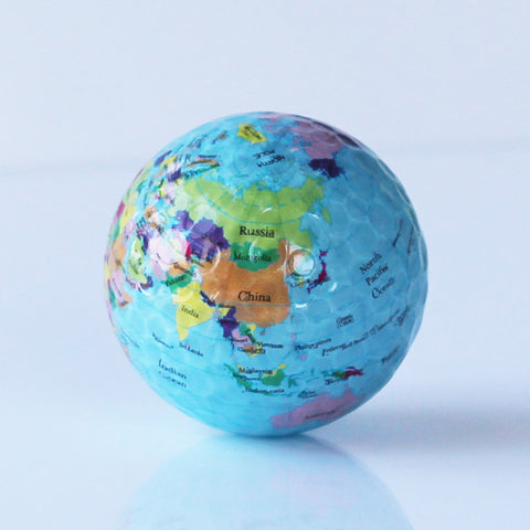 3 pcs Globe Map Color Golf Balls Practice Golf Balls