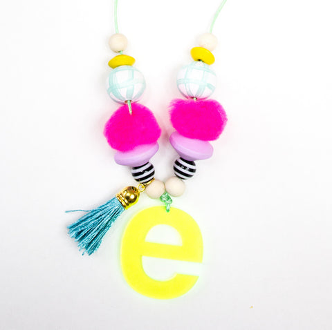 Neon Yellow Monogram Necklace