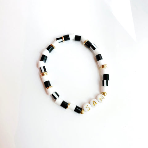 Black & White Personalized Gold Letter Bracelet