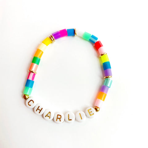 Multicolor Personalized Gold Letter Bracelet