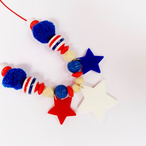 Red White and Blue Star Necklace