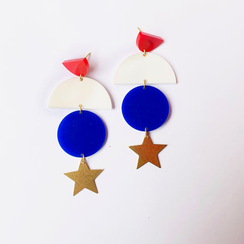 Red White and Blue Geo Earrings