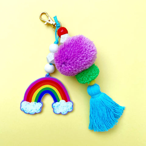 Rainbow Bag Charm or Keychain