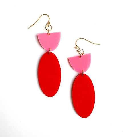 Red and Pink Oval Dangle Earrings