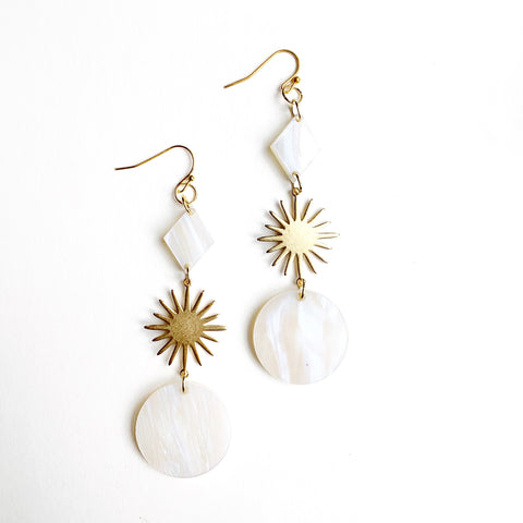 Pearlized Rising Sun Earrings
