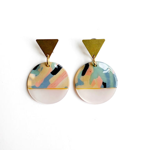 Multi-color Disk Earrings