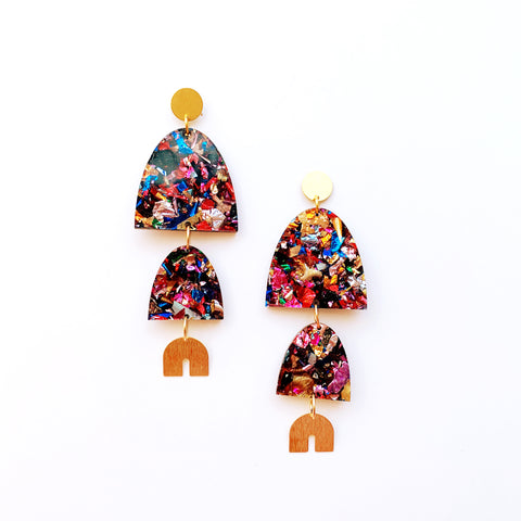Kaleidoscope Confetti Graduated Arch Earrings