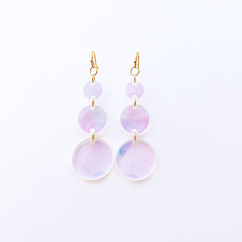 Disco Queen Circle Drop Earrings - Iridescent