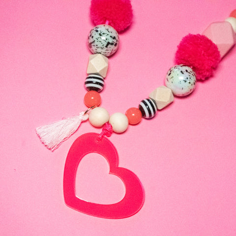 Kids Neon Valentines Day Necklace