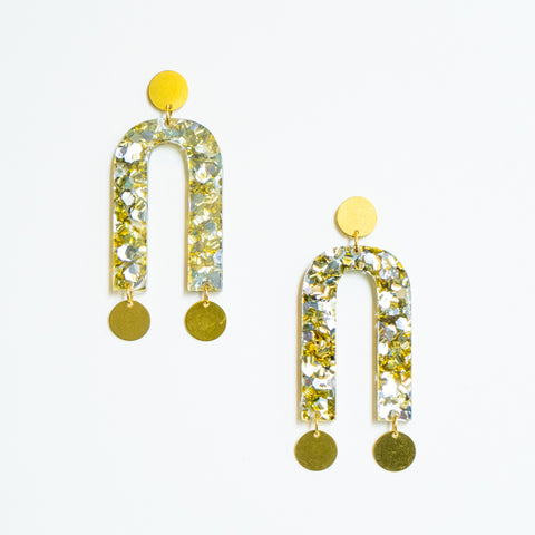 Geometric Dangle Earrings - Mixed Metal Glitter