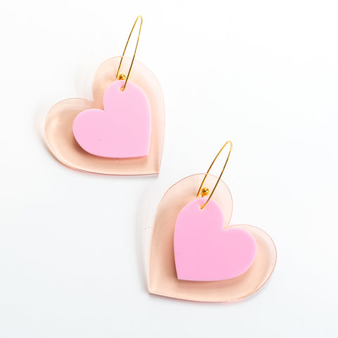 Adult Pop Heart Dangles in Blush and Rose Gold