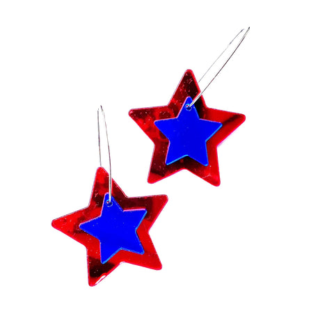 Red and Blue Mirrored Star Earrings