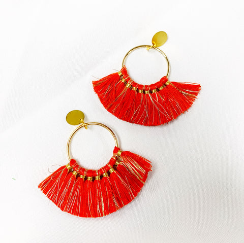 Red and Gold fringe statement earrings