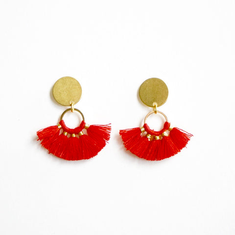 Chiefs Red fringe earrings