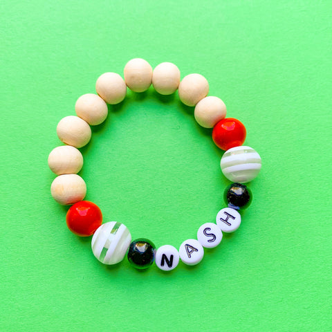 Little Dudes Name Bracelet Black and Red