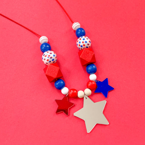 Red White and Blue Mirrored Star Necklace