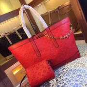 LV Neverfull MM Chain Red
