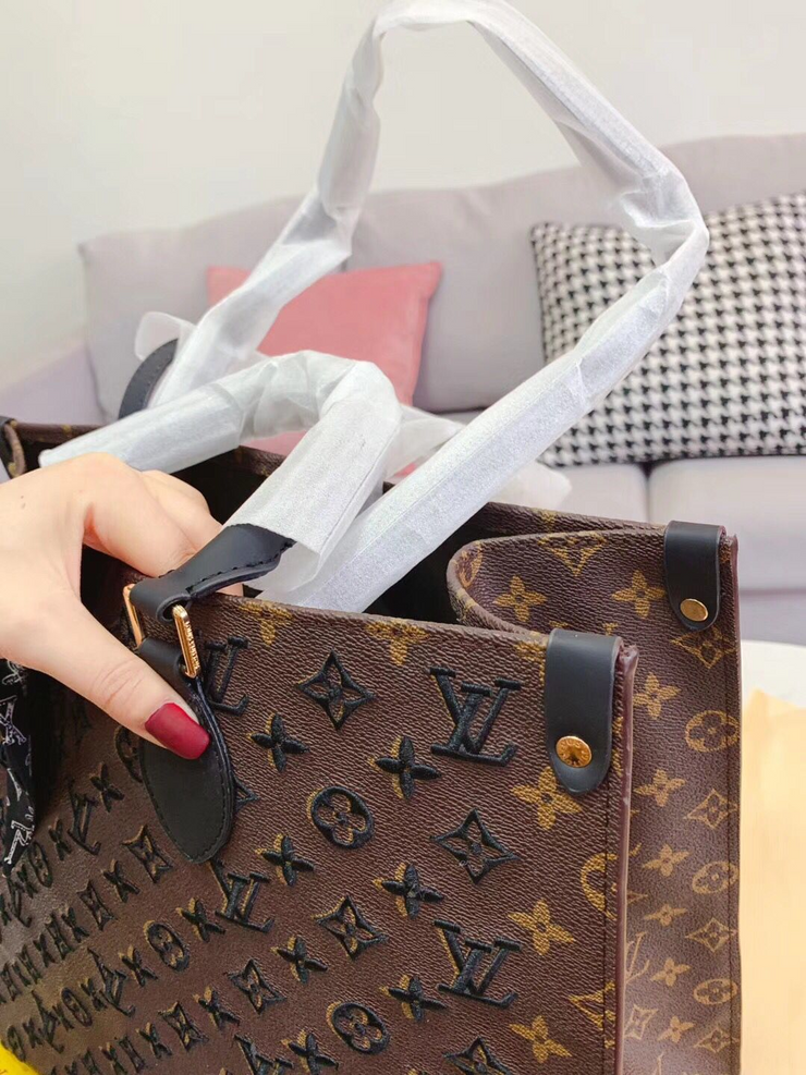 LV Neverfull Brown Embroidered