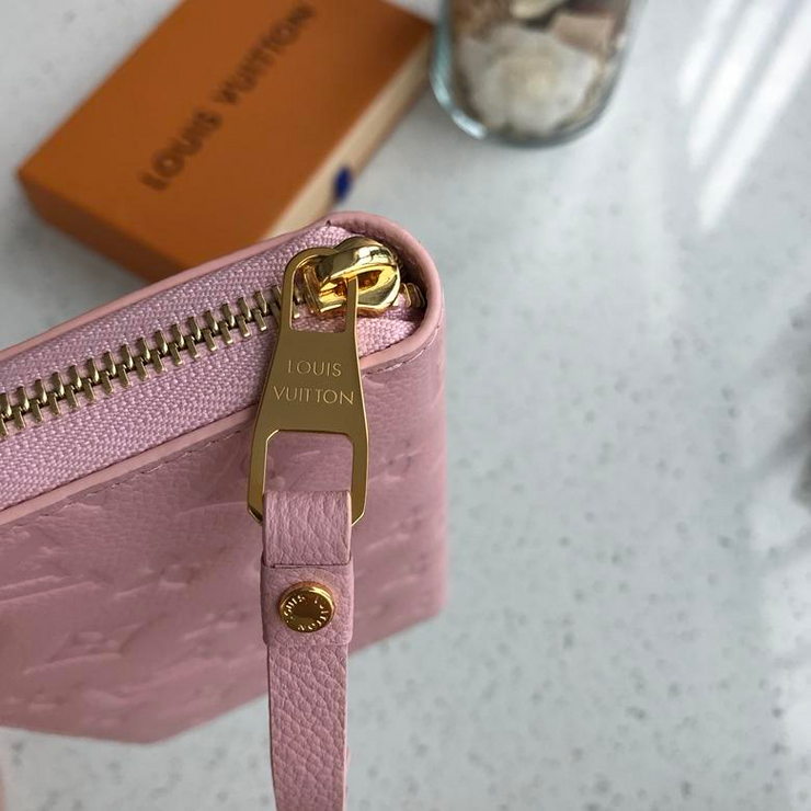 LV - Pale Pink Wallet Engraved Monogram