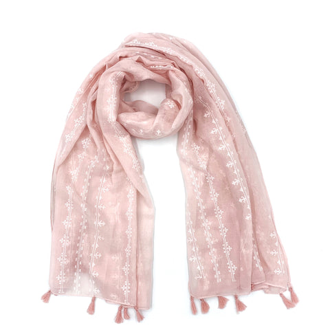 Pink Tassel Cotton Stole