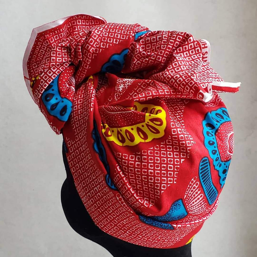 Red/Teal hearts print -Pre-tied scarf/Head wrap