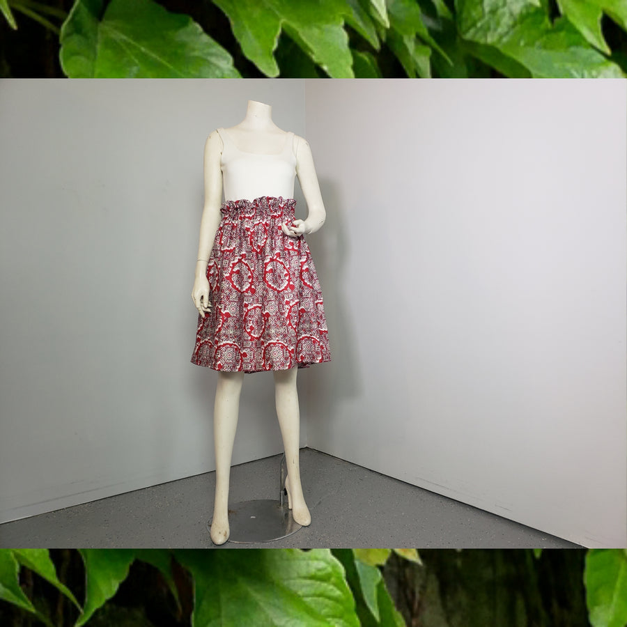 Yolo paper bag skirt- red wo print