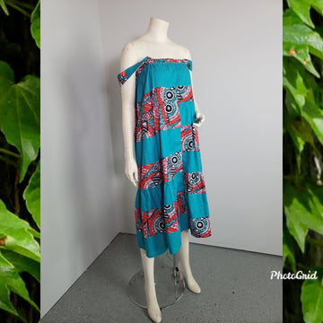 Yolo 2in1 Maxi skirt/dress-teal print