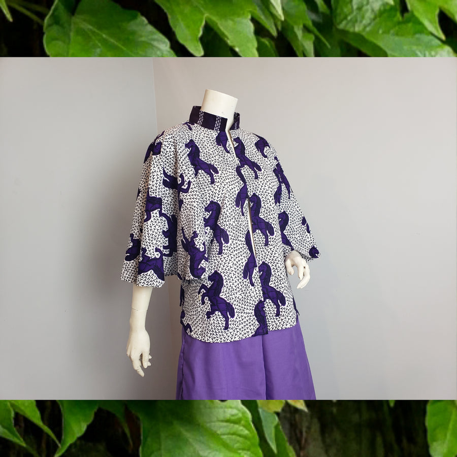 Yolo cape top- purple horse print