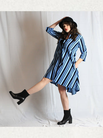 Blue stripes HK Shirt Dress