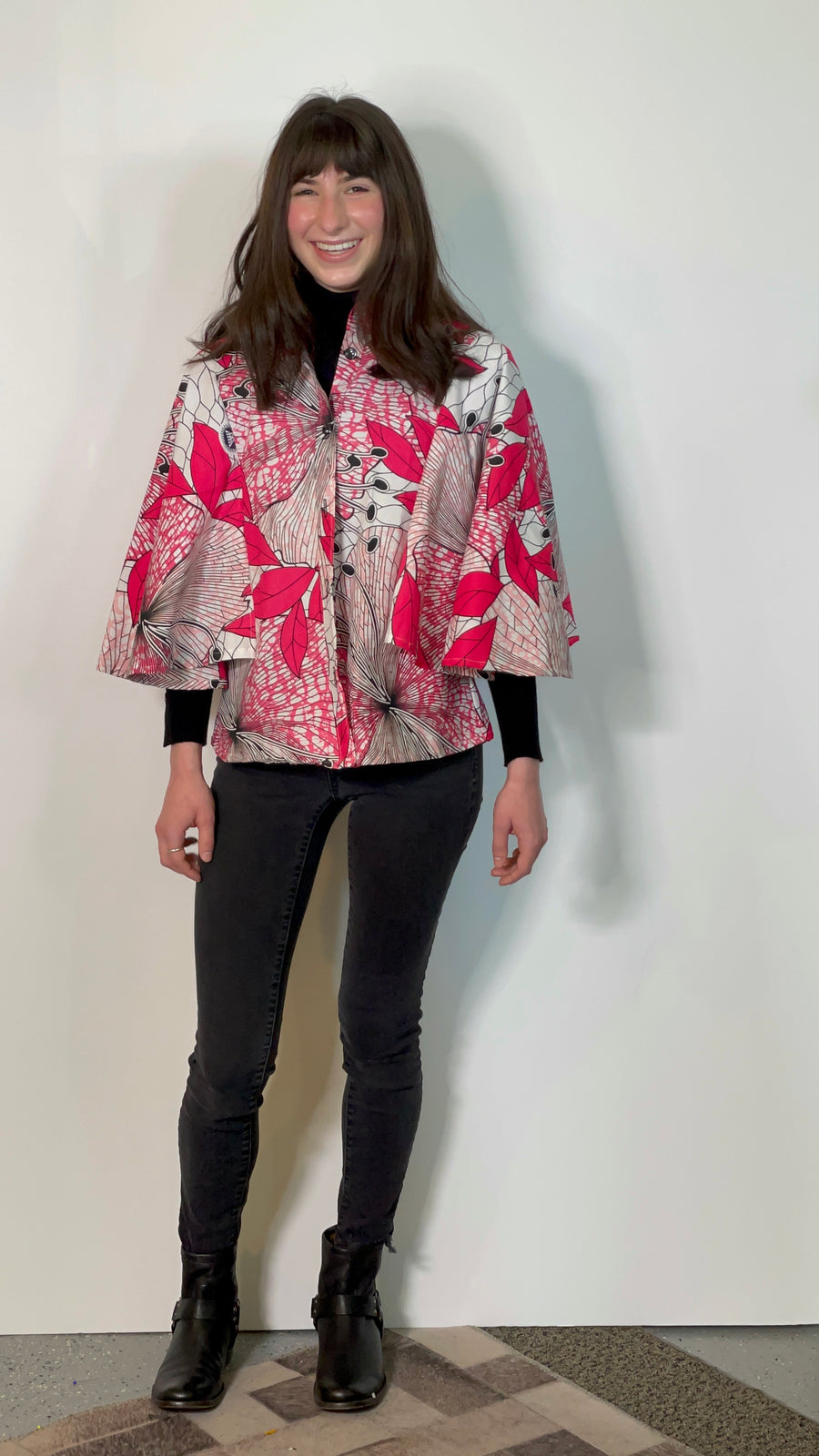 Boss of Me Cape top- pink hibiscus print