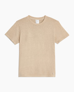 Garment Dyed Jersey Crewneck Tee in Heather Oatmeal - 18 - Onia