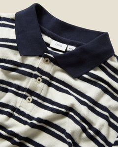 Zach Stripe Towel Terry Polo in Deep Navy - 6 - Onia