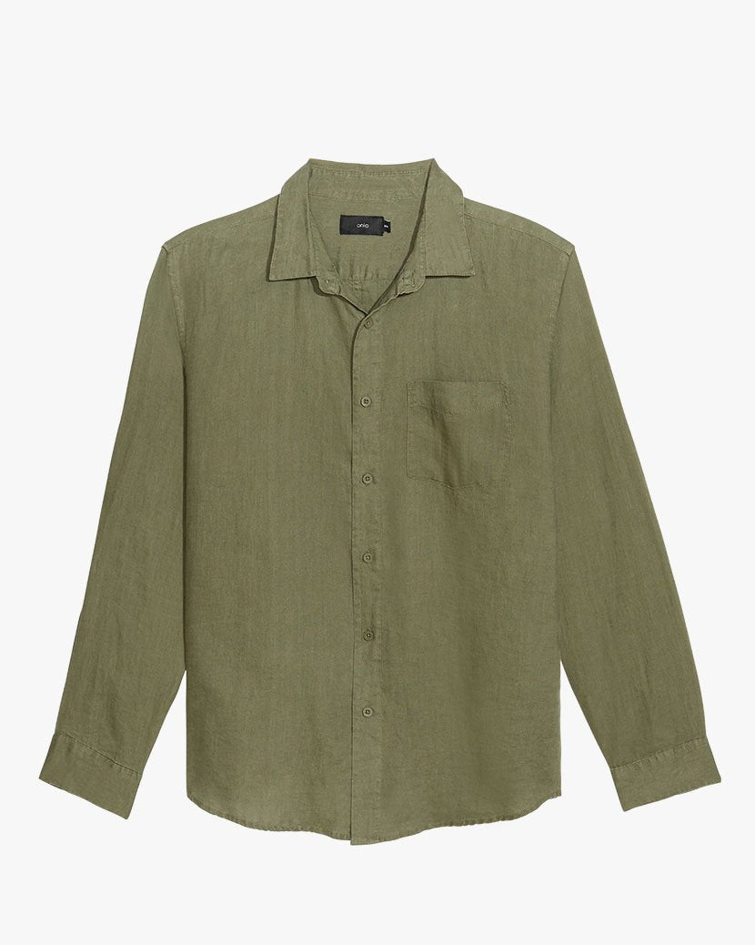 Abe Linen Shirt in Deep Sage - 1 - Onia