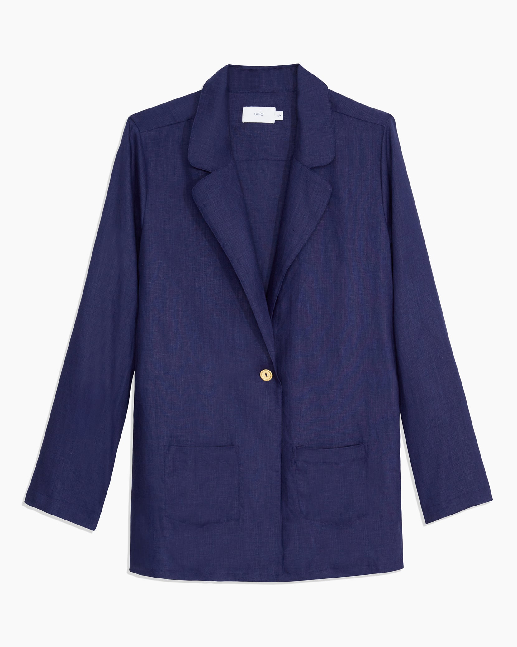 Linen Beach Blazer in Navy - 6 - Onia