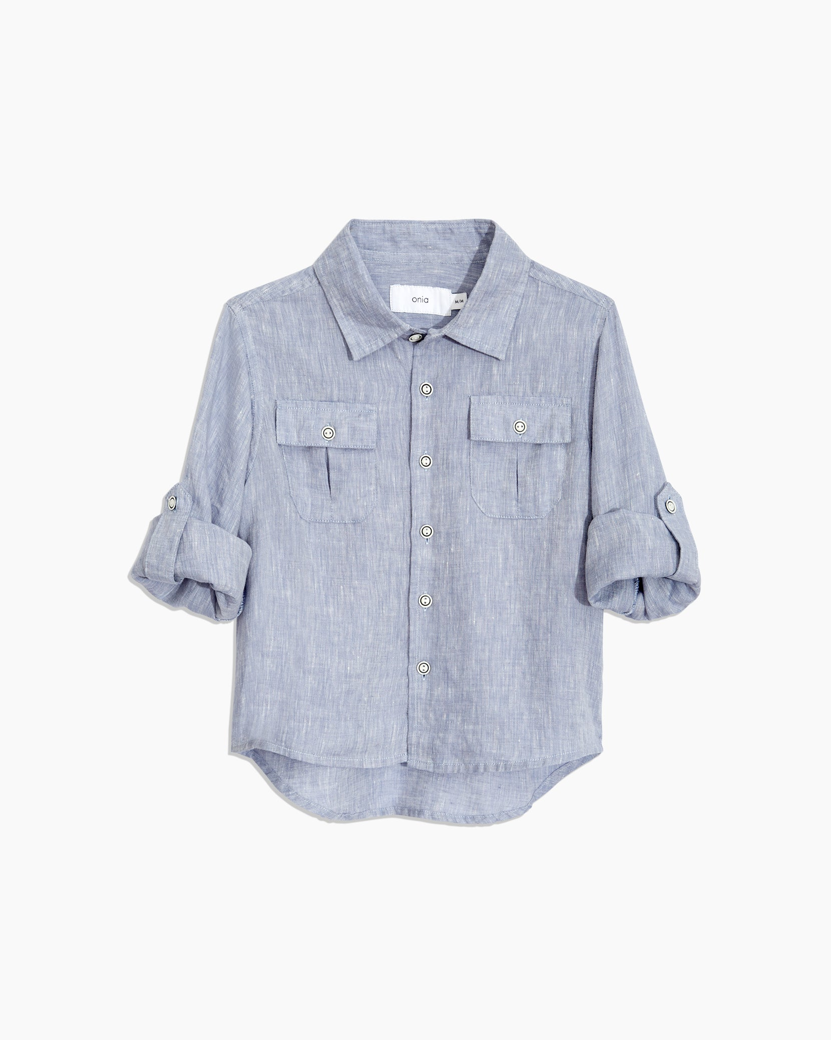 Boys Linen Garret Shirt in Denim - 3 - Onia