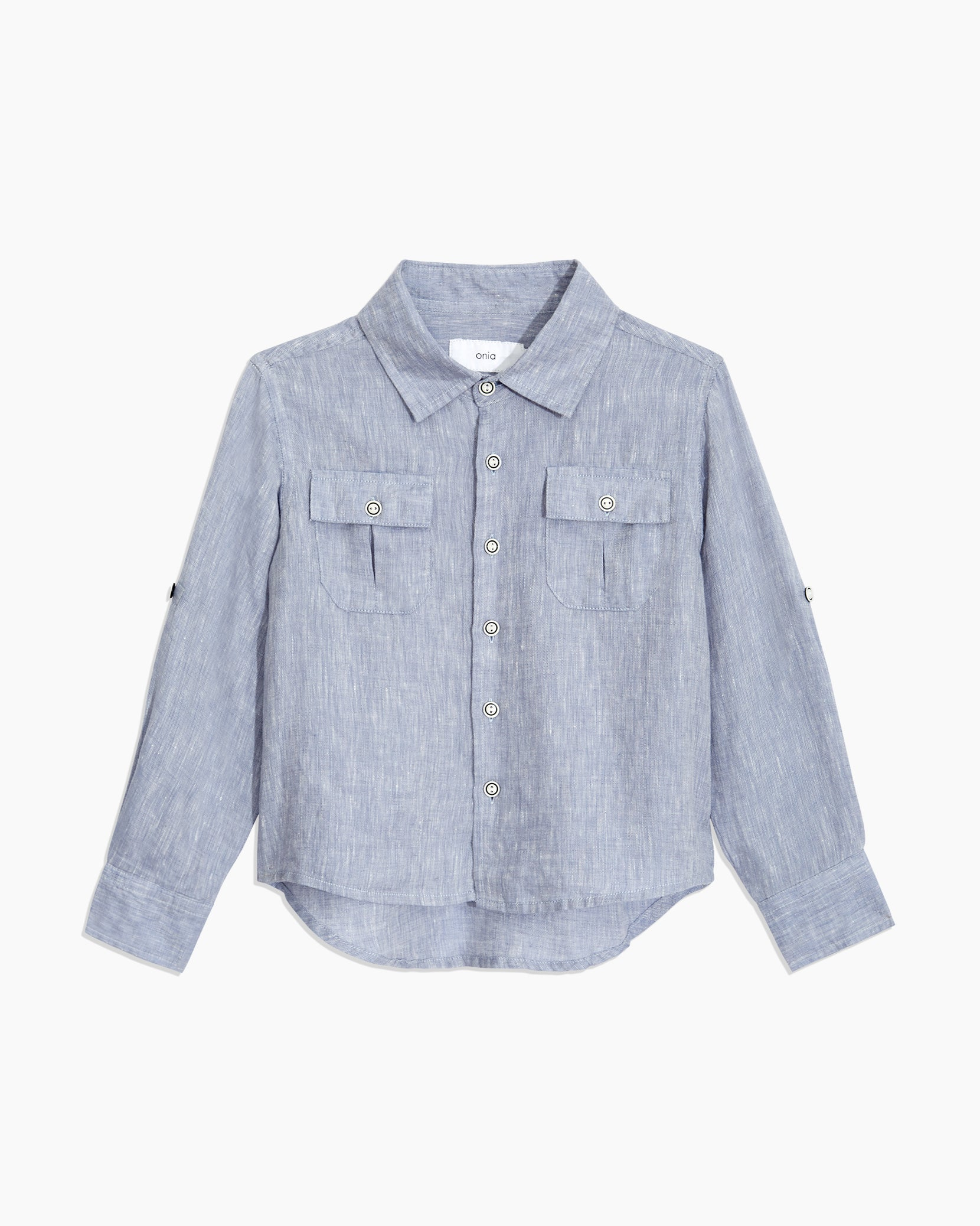 Boys Linen Garret Shirt in Denim - 1 - Onia