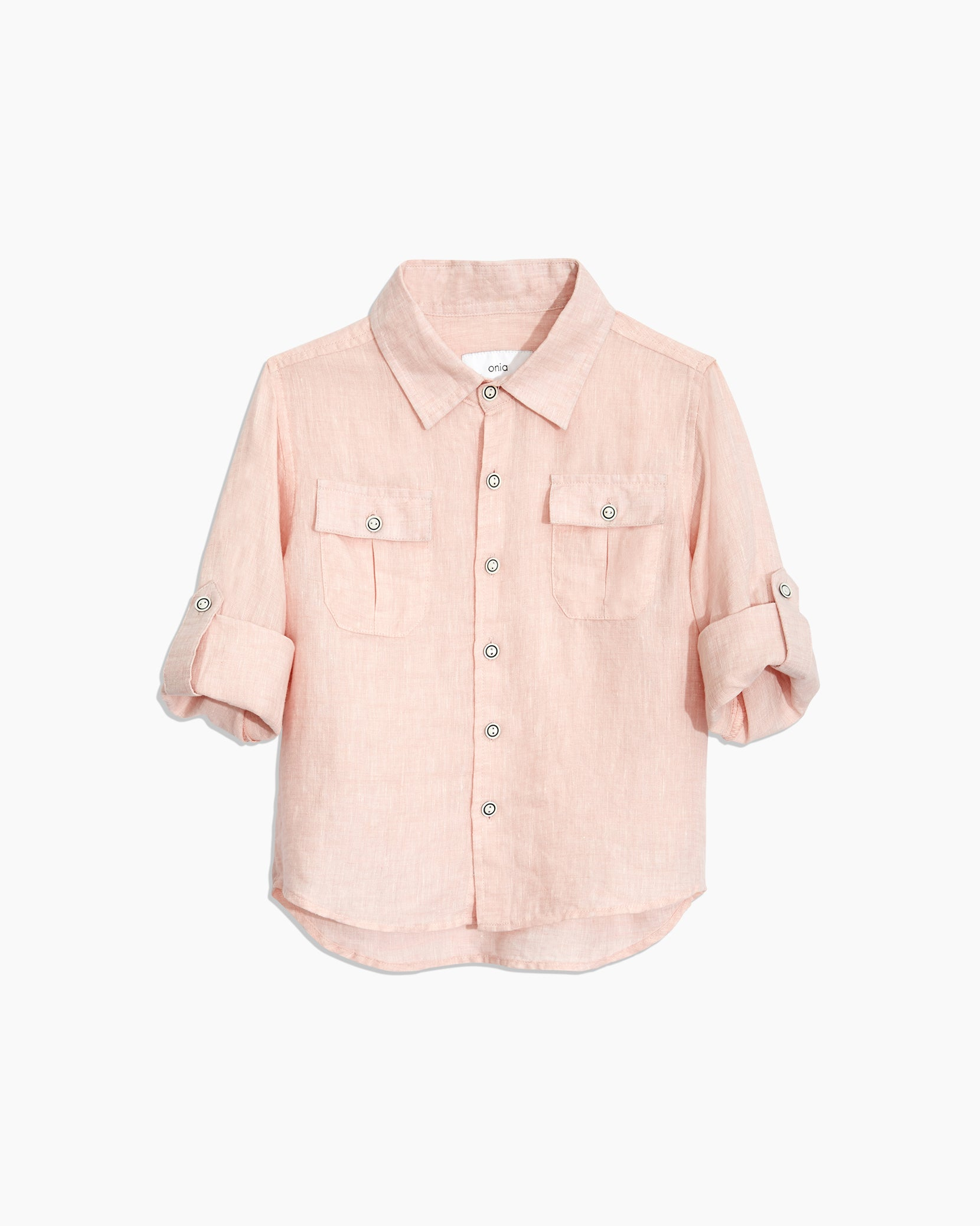 Boys Linen Garret Shirt in Petal - 11 - Onia