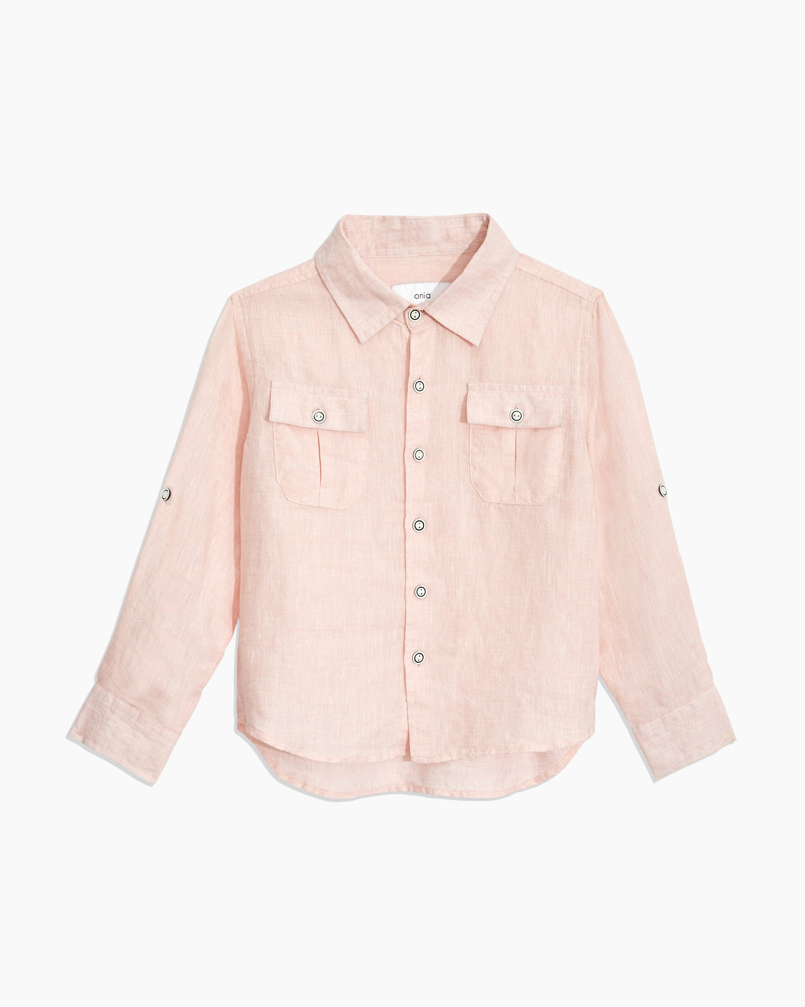 Boys Linen Garret Shirt in Petal - 7 - Onia