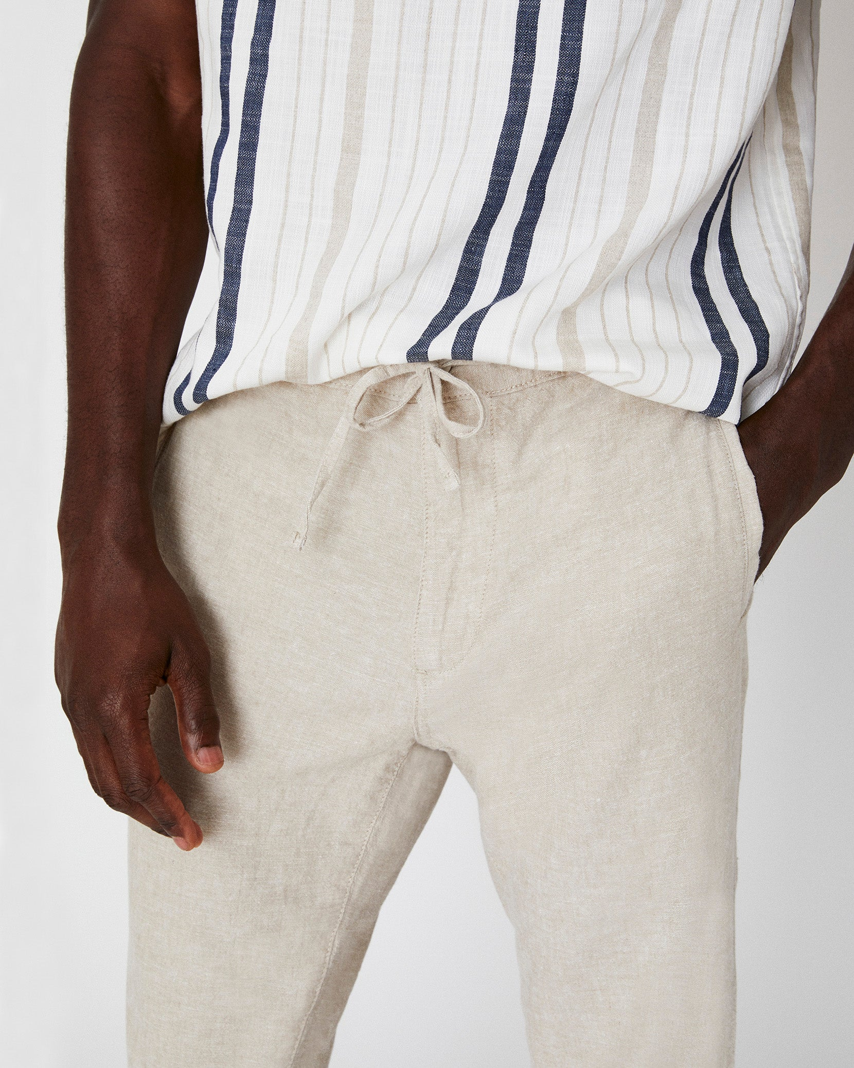 Collin Linen Pant in Dune - 2 - Onia