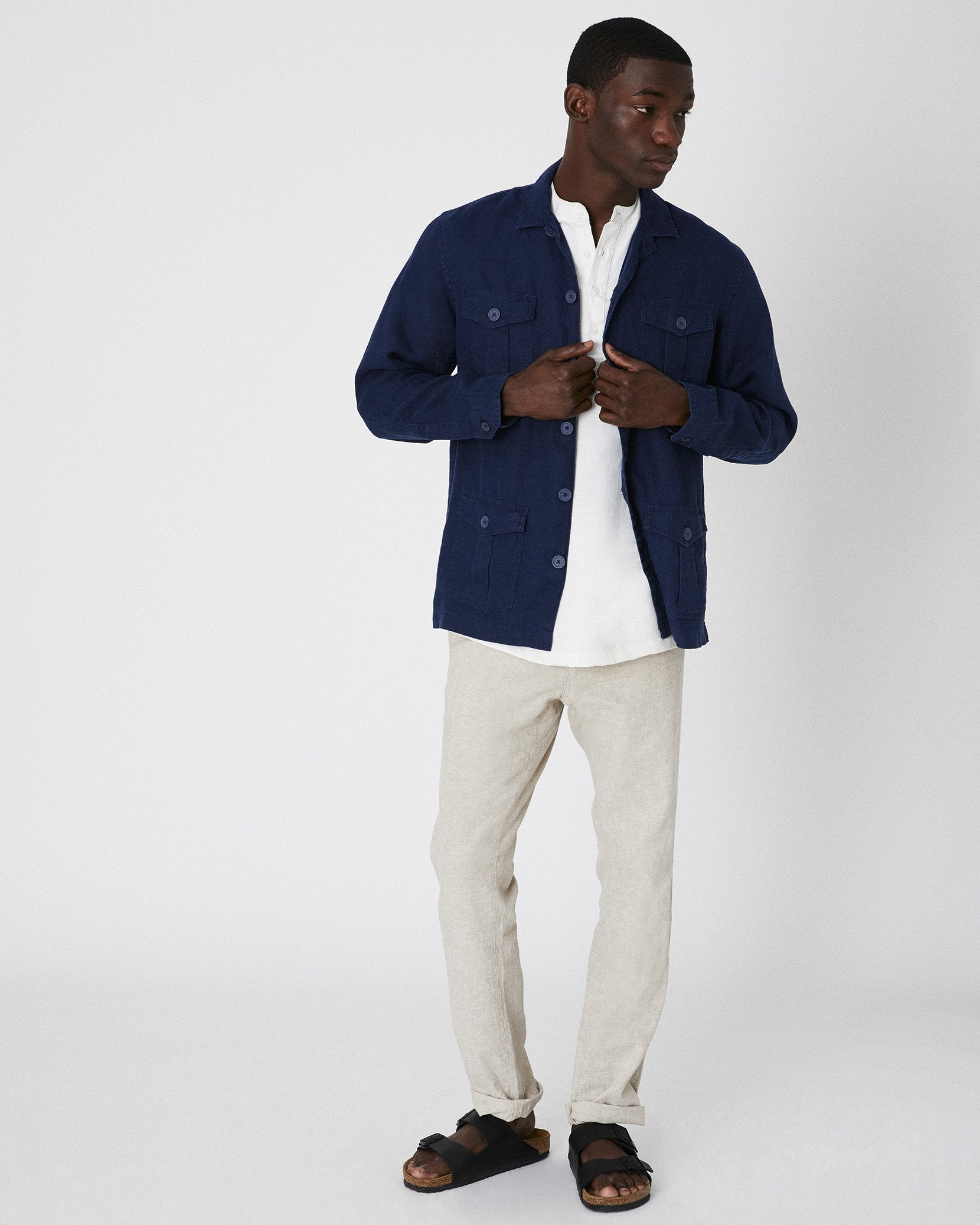 Linen Safari Jacket in Deep Navy - 14 - Onia